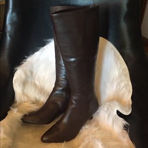Coach Fayth Brown Leather Zip Heeled Boots